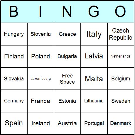EU Member States Bingo Card