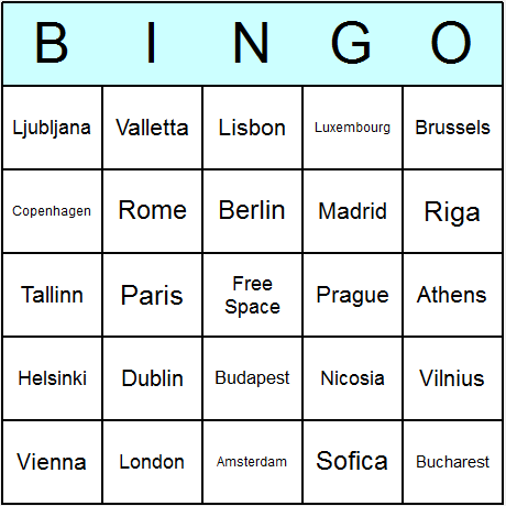 EU Member States' Capitals Bingo Card