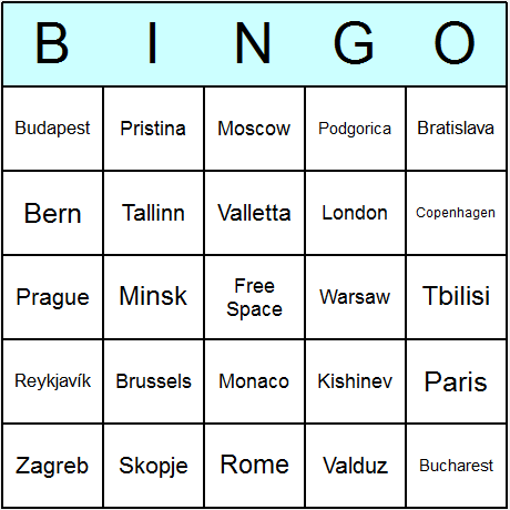 European Countries' Capitals Bingo Card