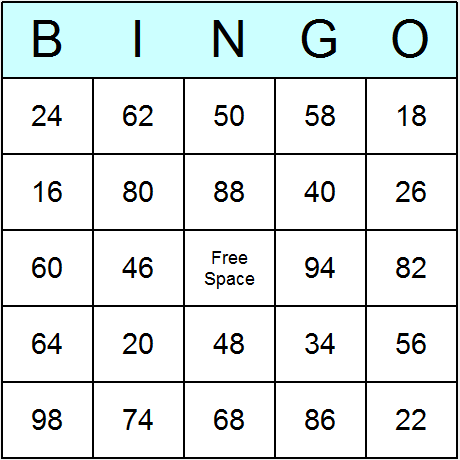 Even Numbers upto 100 Bingo Card