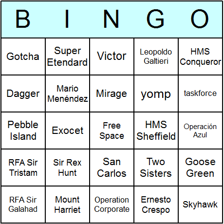 Falklands War Bingo Card