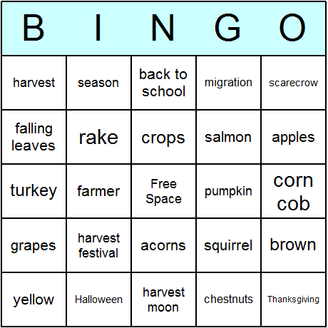 Fall Autumn Bingo Card