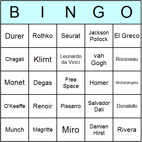 Famous Artists Bingo Card