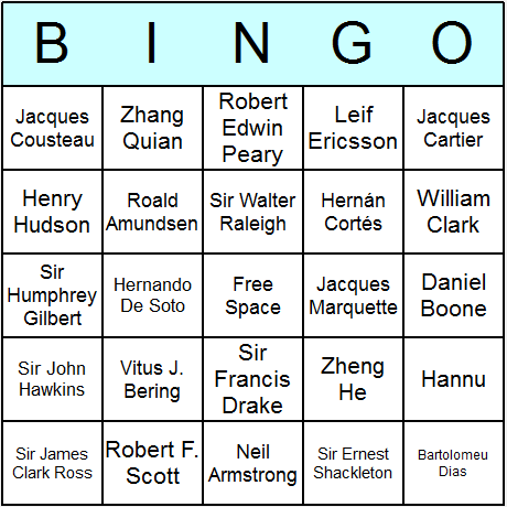 Famous Explorers Bingo Card