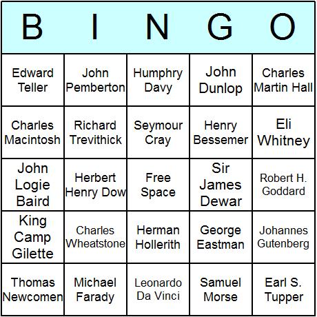 Famous Inventors Bingo Card
