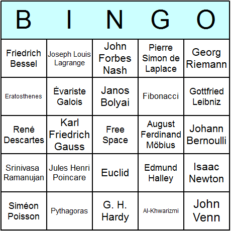 Famous Mathematicians Bingo Card