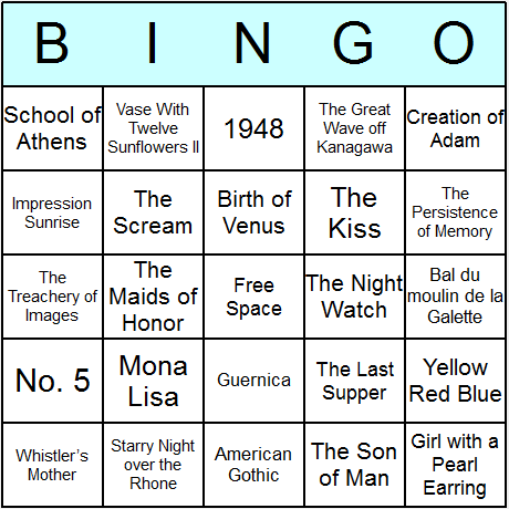 Famous Paintings Bingo Card