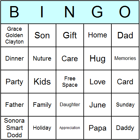 Father's Day Bingo Card