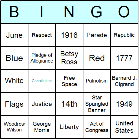 Flag Day Bingo Card