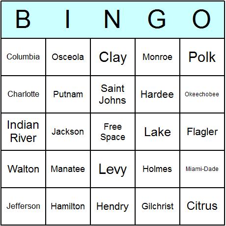 Florida Counties Bingo Card
