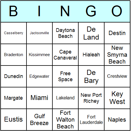 Florida Towns & Cities Bingo Card