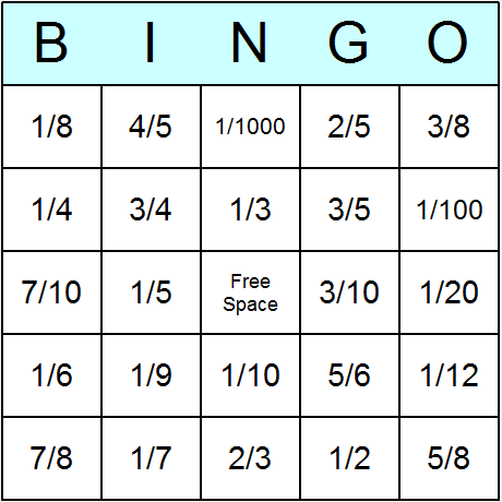 Fraction Bingo Cards