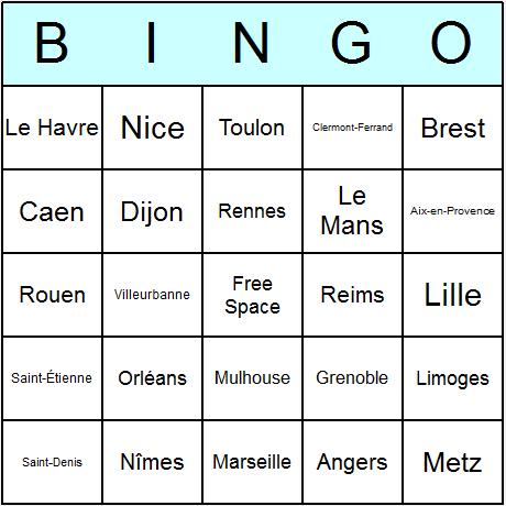 French Cities Bingo Card