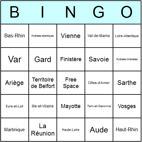 French Departments Bingo Card
