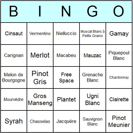 French Grapes Bingo Card