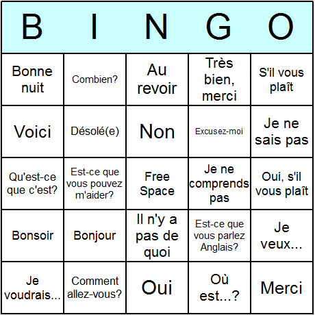 French Phrases Bingo Card