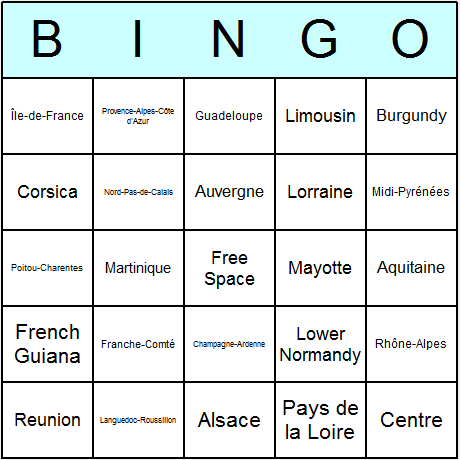 French Regions Bingo Card