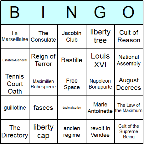 French Revolution Bingo Card