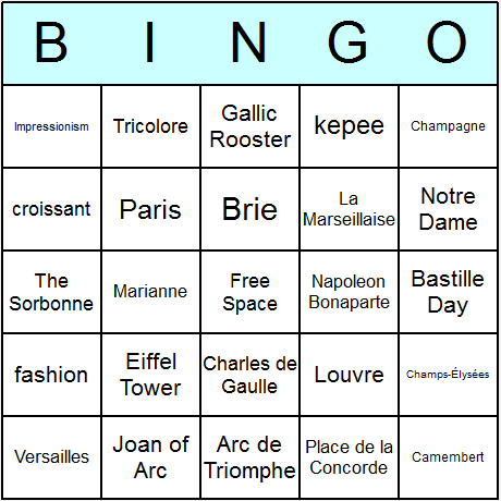 French Symbols & Culture Bingo Card