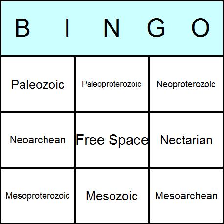 Geological Eras Bingo Card