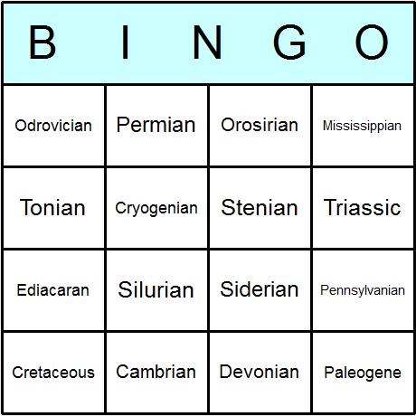 Geological Periods N. America Bingo Card