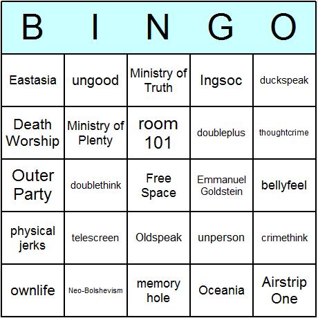 George Orwell's 1984 Bingo Card