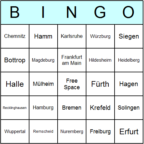 German Cities Bingo Card