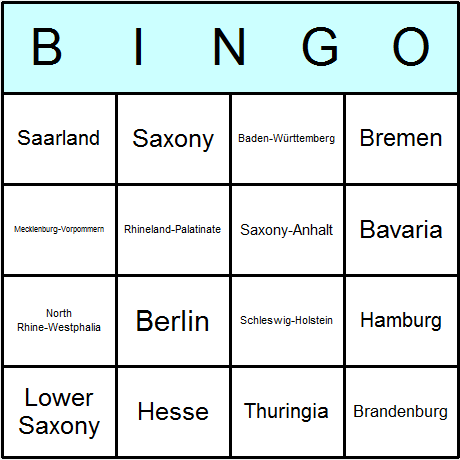 German Länder Bingo Card