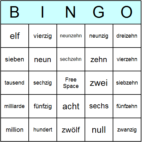 German Numbers Bingo Card