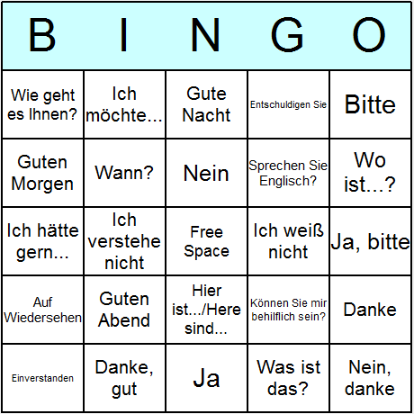 German Phrases Bingo Card