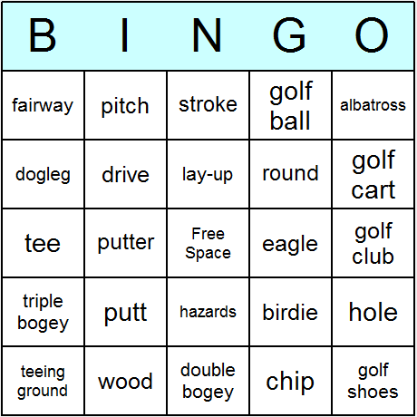 Golf Bingo Card