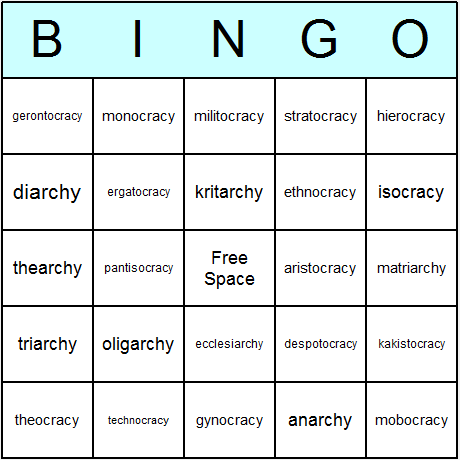 Government Systems Bingo Card
