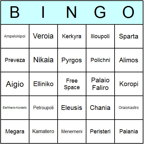 Greek Towns & Cities Bingo Card