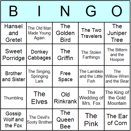 Grimms' Fairy Tales Bingo Cards - Printable bingo activity, game, and ...
