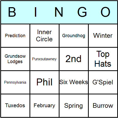 Groundhog Day Bingo Card