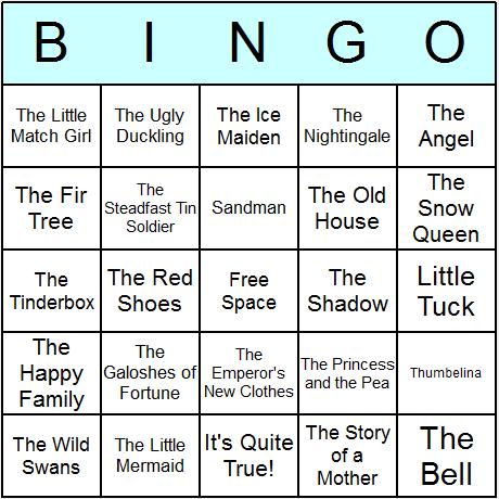 Hans Christian Andersen Bingo Card