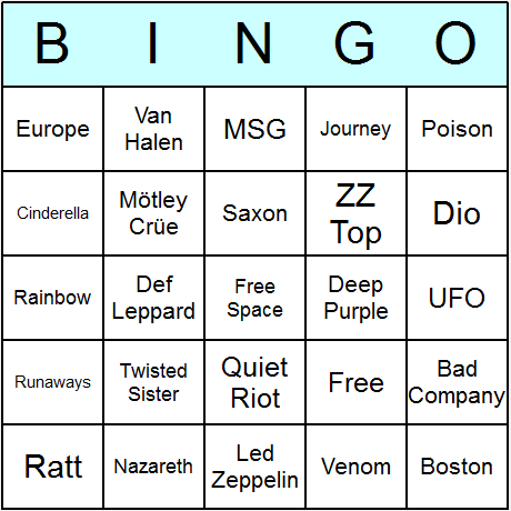 Hard Rock Artists Bingo Card