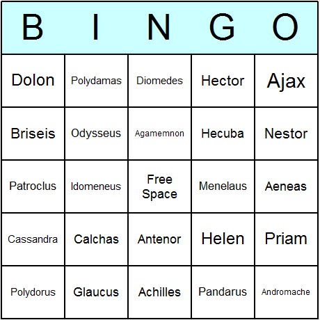 Illiad Characters Bingo Card