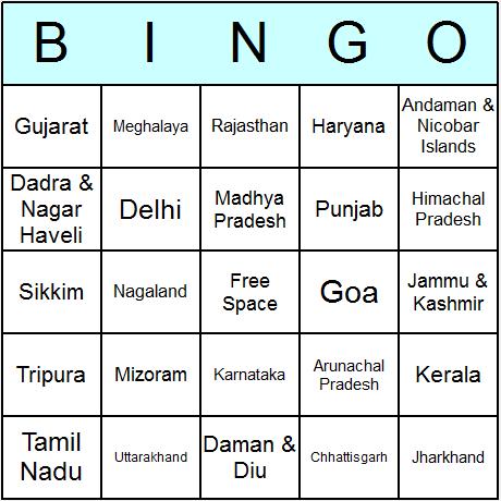 Indian States Bingo Card