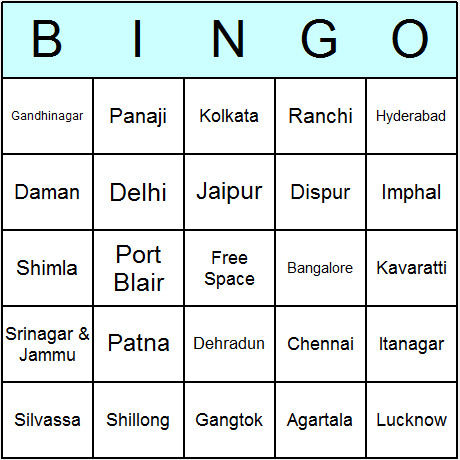 Indian States' Capitals Bingo Card
