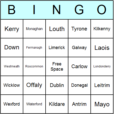 Irish Counties Bingo Card