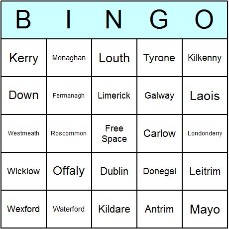 Irish Counties Bingo Card
