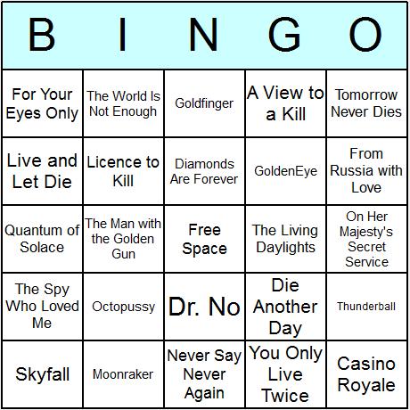 James Bond Films Bingo Card