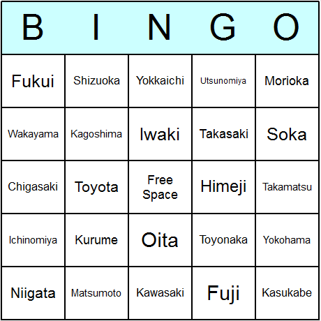 Japanese Cities Bingo Cards 6.01