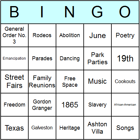Juneteenth Bingo Card