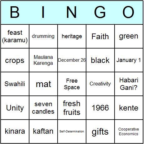 Kwanzaa Bingo Card