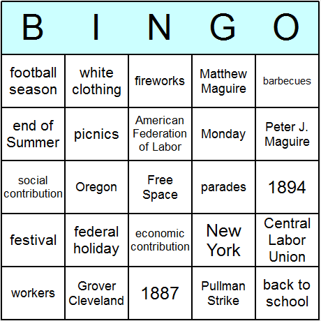 Labor Day Bingo Card