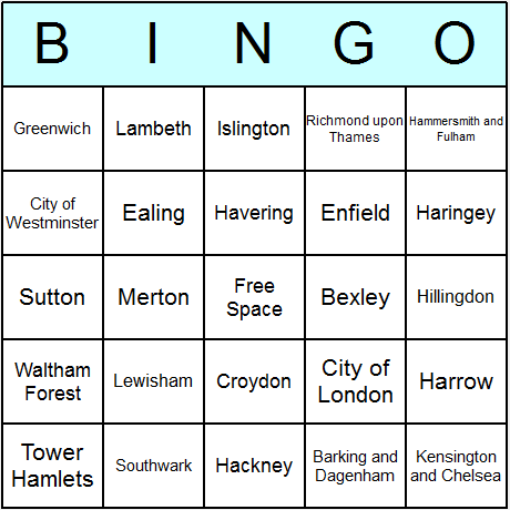 London Boroughs Bingo Card