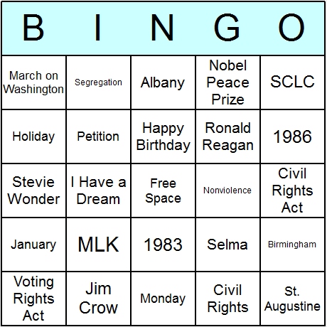 Martin Luther King, Jr. Day Bingo Card