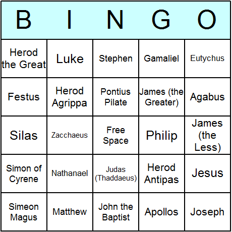 Men of the New Testament Bingo Card